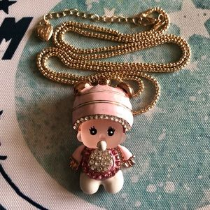 NEW Betsey Johnson Pink Baby Doll Pendant Necklace